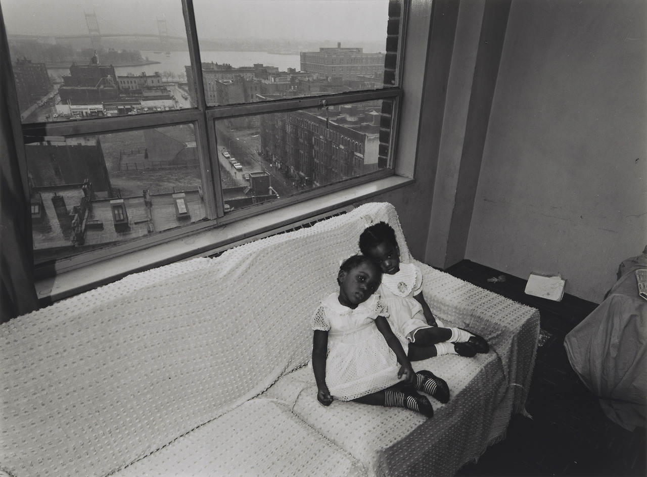 Untitled, [Children on Couch with East 100th Street Out the Window], from East 100th Street series; Bruce Davidson; 1967–68