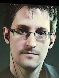 Edward Snowden. Photo by Bryan Bedder/Getty Images for The New Yorker. October 11, 2014, New York City.